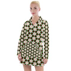 Pattern Flowers White Green Women s Long Sleeve Casual Dress