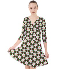 Pattern Flowers White Green Quarter Sleeve Front Wrap Dress