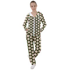 Pattern Flowers White Green Women s Tracksuit