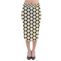 Pattern Flowers White Green Velvet Midi Pencil Skirt