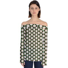 Pattern Flowers White Green Off Shoulder Long Sleeve Top by HermanTelo