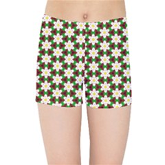 Pattern Flowers White Green Kids  Sports Shorts