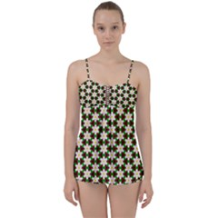 Pattern Flowers White Green Babydoll Tankini Set
