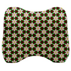 Pattern Flowers White Green Velour Head Support Cushion