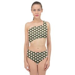 Pattern Flowers White Green Spliced Up Two Piece Swimsuit
