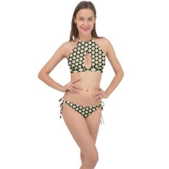 Pattern Flowers White Green Cross Front Halter Bikini Set by HermanTelo