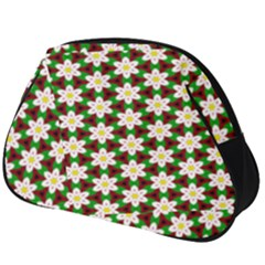 Pattern Flowers White Green Full Print Accessory Pouch (big)
