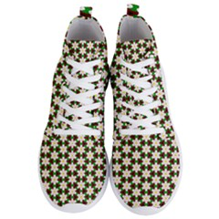 Pattern Flowers White Green Men s Lightweight High Top Sneakers