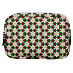 Pattern Flowers White Green Make Up Pouch (small)