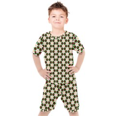 Pattern Flowers White Green Kids  Tee And Shorts Set