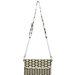 Pattern Flowers White Green Mini Crossbody Handbag