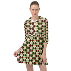 Pattern Flowers White Green Mini Skater Shirt Dress