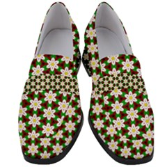 Pattern Flowers White Green Women s Chunky Heel Loafers