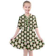 Pattern Flowers White Green Kids  All Frills Chiffon Dress by HermanTelo