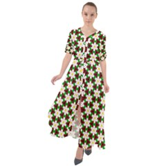 Pattern Flowers White Green Waist Tie Boho Maxi Dress