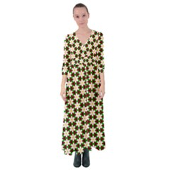 Pattern Flowers White Green Button Up Maxi Dress