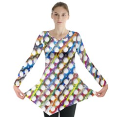 Rings Geometric Circles Random Long Sleeve Tunic  by HermanTelo