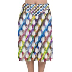 Rings Geometric Circles Random Velvet Flared Midi Skirt