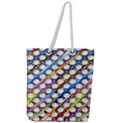 Rings Geometric Circles Random Full Print Rope Handle Tote (large) by HermanTelo