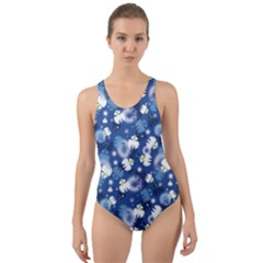 White Flowers Summer Plant Cut Out Back One Piece Swimsuit