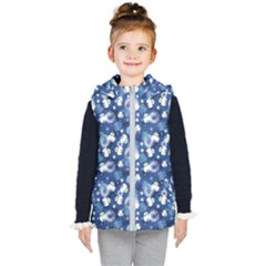White Flowers Summer Plant Kids  Hooded Puffer Vest