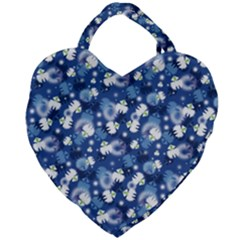 White Flowers Summer Plant Giant Heart Shaped Tote