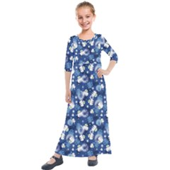 White Flowers Summer Plant Kids  Quarter Sleeve Maxi Dress