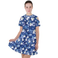White Flowers Summer Plant Short Sleeve Shoulder Cut Out Dress