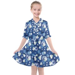 White Flowers Summer Plant Kids  All Frills Chiffon Dress