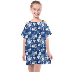 White Flowers Summer Plant Kids  One Piece Chiffon Dress