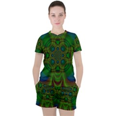Abstract Background Design Green Women s Tee And Shorts Set