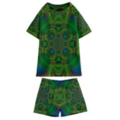 Abstract Background Design Green Kids  Swim Tee And Shorts Set
