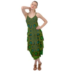 Abstract Background Design Green Layered Bottom Dress by Sudhe
