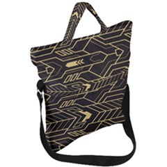 Abstract Art Deco Seamless Pattern Vector Fold Over Handle Tote Bag