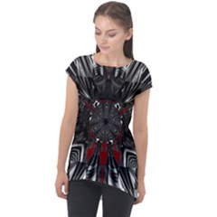 Abstract Artwork Art Fractal Cap Sleeve High Low Top