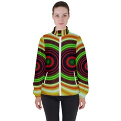 Digital Art Background Yellow Red Women s High Neck Windbreaker
