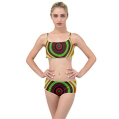Digital Art Background Yellow Red Layered Top Bikini Set