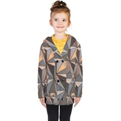 3d Abstract  Pattern Kids  Double Breasted Button Coat