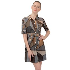 3d Abstract  Pattern Belted Shirt Dress by Sudhe
