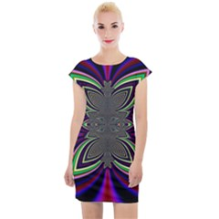 Abstract Artwork Fractal Background Pattern Cap Sleeve Bodycon Dress