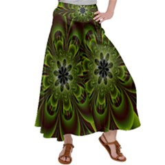 Abstract Flower Artwork Art Floral Green Satin Palazzo Pants