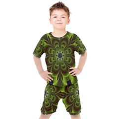 Abstract Flower Artwork Art Floral Green Kids  Tee And Shorts Set by Sudhe