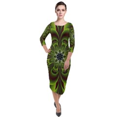 Abstract Flower Artwork Art Floral Green Quarter Sleeve Midi Velour Bodycon Dress