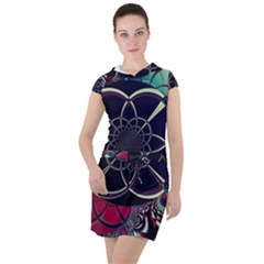 Fractal Artwork Abstract Background Art Pattern Drawstring Hooded Dress by Sudhe