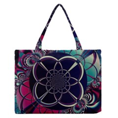 Fractal Artwork Abstract Background Art Pattern Zipper Medium Tote Bag by Sudhe