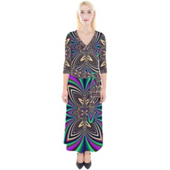 Abstract Artwork Fractal Background Art Quarter Sleeve Wrap Maxi Dress