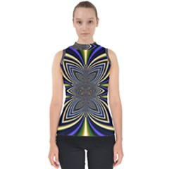 Abstract Artwork Fractal Background Mock Neck Shell Top