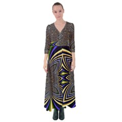 Abstract Artwork Fractal Background Button Up Maxi Dress