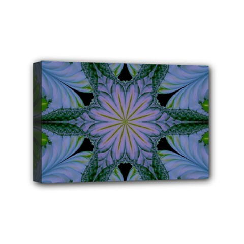 Abstract Flower Artwork Art Green Mini Canvas 6  X 4  (stretched)