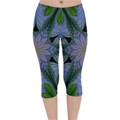 Abstract Flower Artwork Art Green Velvet Capri Leggings